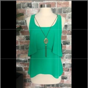 Green tank with built in necklace